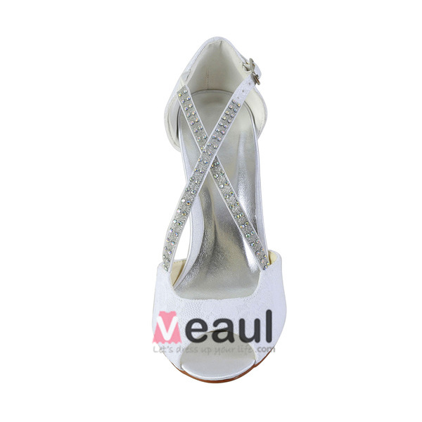 Beautiful Open Toe Strappy Sandals White Satin Bridal Shoes Wedding Shoes