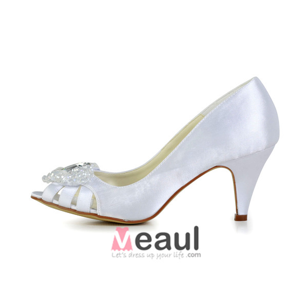 Beautiful Peep Pierced Toe Mid Heels White Satin Pumps Bridal Wedding Shoes With Heart-shaped Crystal Rhinestone