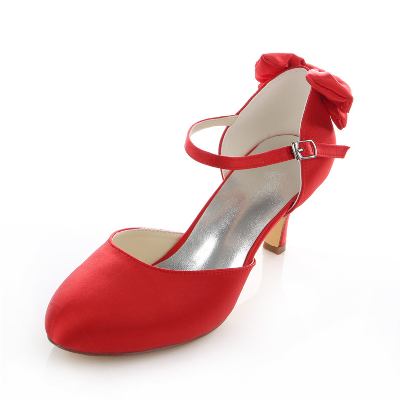 Beautiful Satin Bridal Shoes Stiletto Heels Red Pumps With Ankle Strap