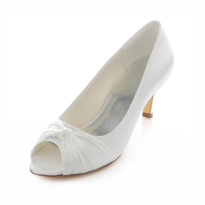 Beautiful Satin Bridal Shoes Stiletto Heels White Pumps Peep Toe