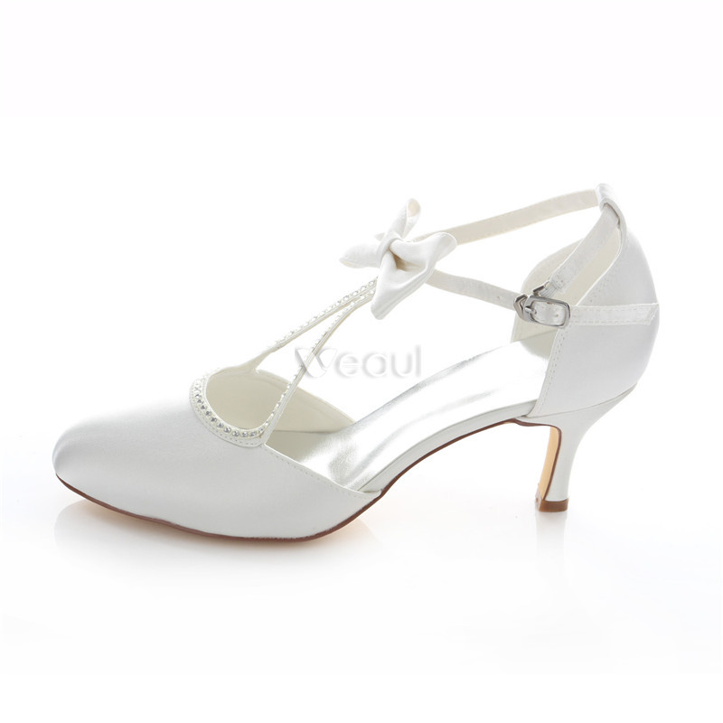 Beautiful Satin Wedding Shoes Stiletto Heels White Pumps With Ankle Strap