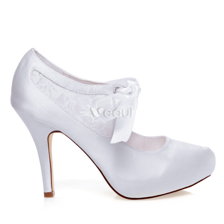 Beautiful White Bridal Pumps Stiletto Heels Lace Wedding Shoes
