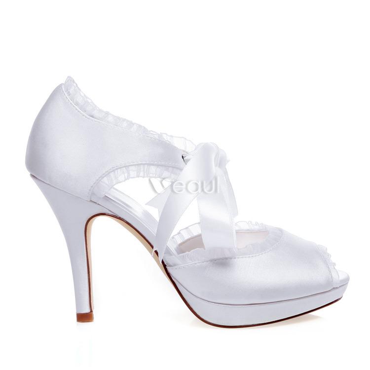 beautiful white bridal sandals stiletto heels peep toe