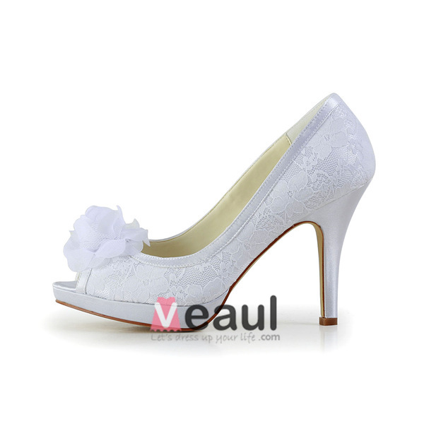 Beautiful White Bridal Shoes Lace Peep Toe Stilettos With Flower
