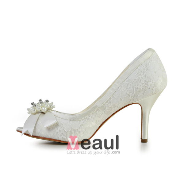 Beautiful White Bridal Shoes Open Toe Stiletto Heels Lace Pumps With Pearl