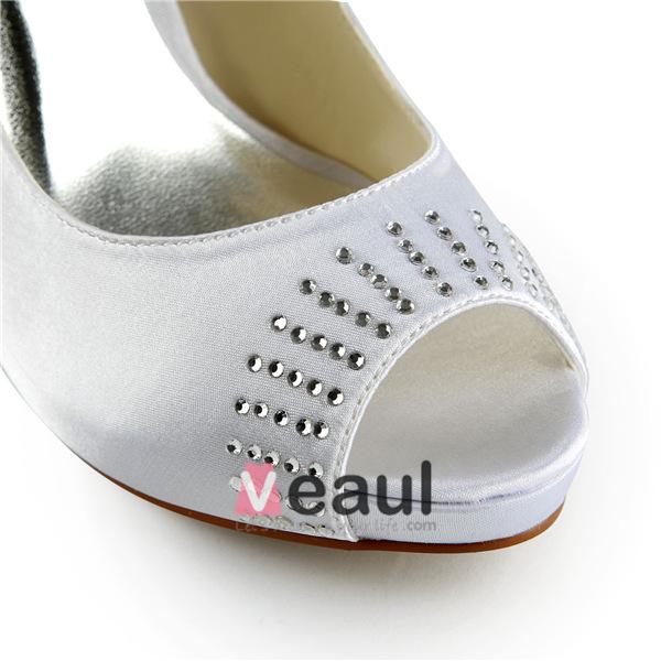 Beautiful White Bridal Shoes Satin Peep Toe Stilettos Pumps With Rhinestone