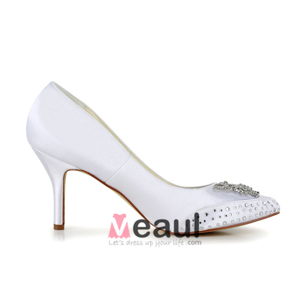 Beautiful White Bridal Shoes Stiletto Heel Pumps With Rhinestone Butterfly
