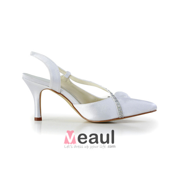 Beautiful White Wedding Shoes Satin Stilettos Sandals Slingbacks With Rhinestone Bow