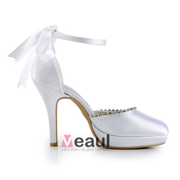 Cheap White Wedding Shoes Satin Stilettos Ankle Strap Sandals With ...
