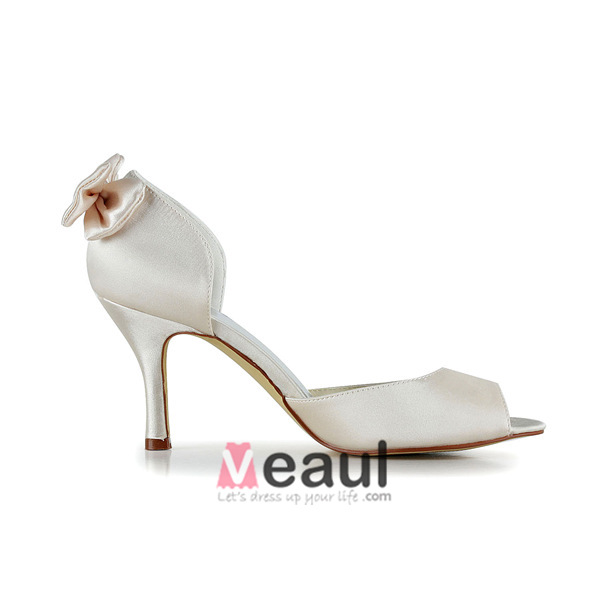 Chic Ivory Bridal Shoes Stiletto Heels Satin Pumps With Bow