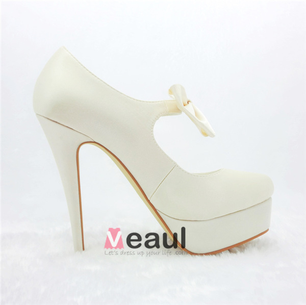 Chic Ivory Bridal Shoes Stilettos High Heel Platform Pumps With Bowknot