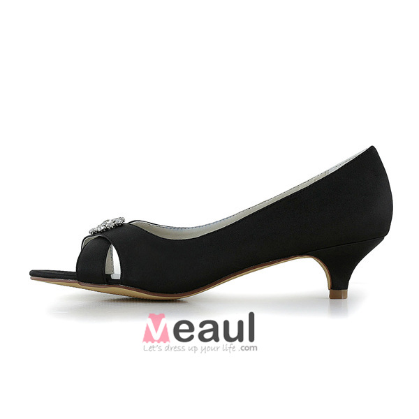 Chic Peep Toe Black Satin Kitten Heels Pumps Wedding Shoes With