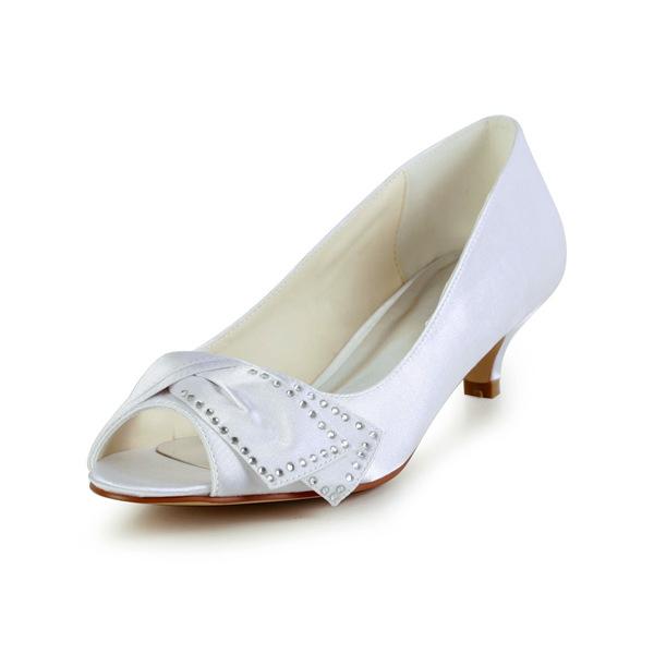 Chic Peep Toe Inlaid Rhinestone White Satin Kitten Heels Wedding Shoes