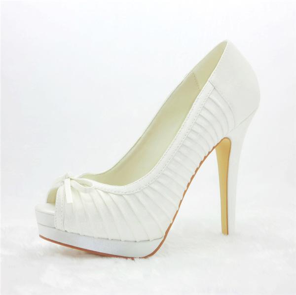 Chic Pleated Bridal Shoes Stilettos High Heel Peep Toe Pumps With Platform