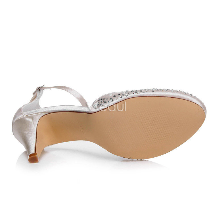 Chic Satin Wedding Sandals Stiletto Heels Ivory Bridal Shoes With Ankle Strap
