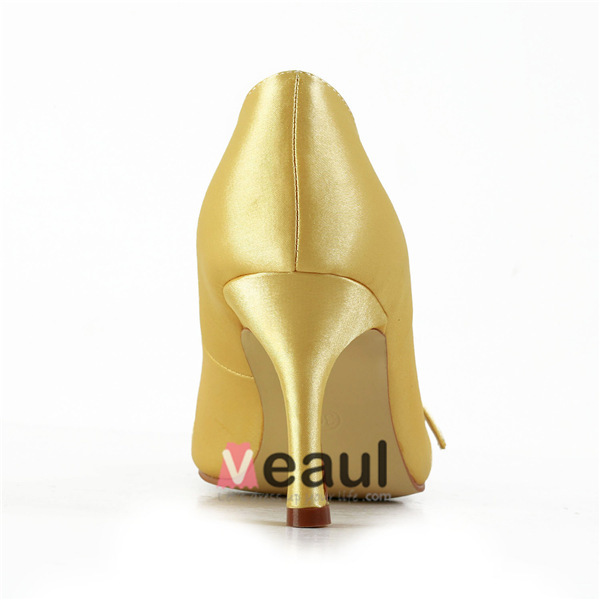 Classic Gold Formal Shoes Satin Stilettos Pumps With Rhinestone Jewelry