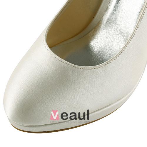 Classic Ivory Bridal Shoes Stilettos High Heels Satin Pumps