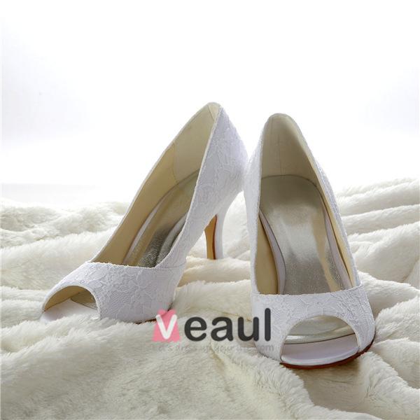 Classic Lace Bridal Shoes White Peep Toe Stiletto Heel Pumps