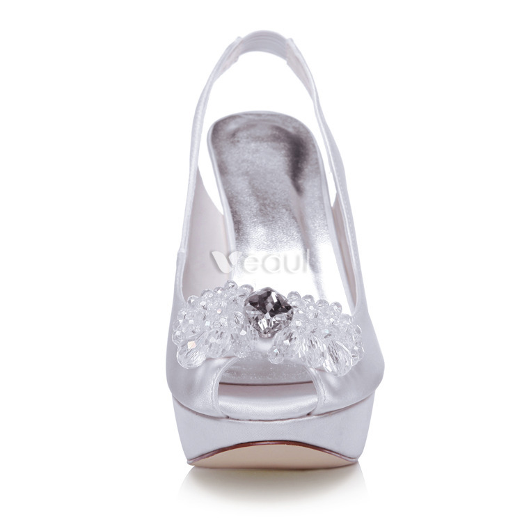 toe wedding shoes stilettos high heels bridal shoes slingback pumps
