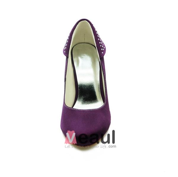 Classic Purple Bridal Shoes Stiletto Heels Satin Pumps With Rhinestone