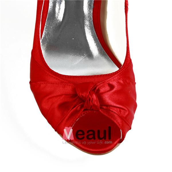 Classic Red Bridal Wedding Shoes Peep Toe Stilettos Satin Pumps