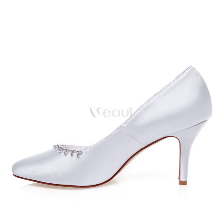 Classic Satin Wedding Shoes White Pumps 3 Inch High Heel Bridal