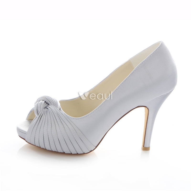 Classic Silver Satin Bridal Shoes Stiletto Heels Pumps 4 Inch High ...
