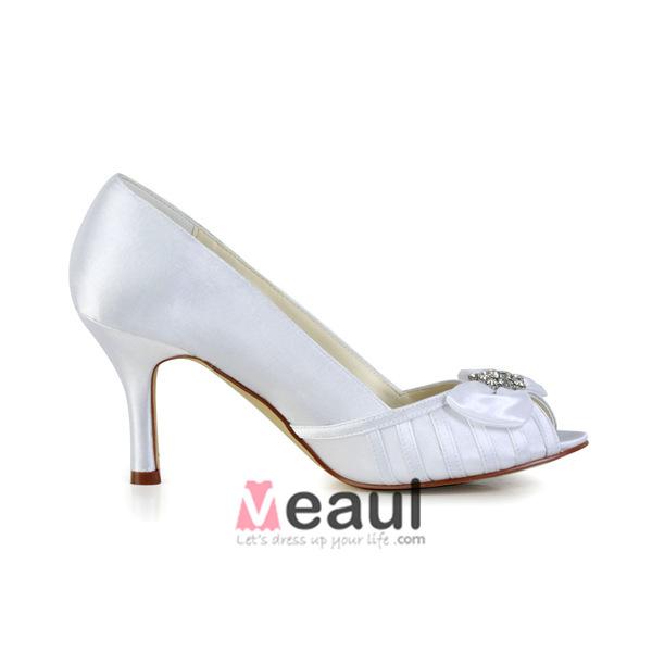 Classic White Bridal Shoes Peep Toe Stilettos Satin Pumps
