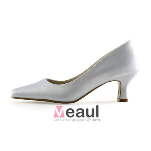 Classic White Pumps Low Heel Satin Bridal Wedding Shoes [411508021 ...