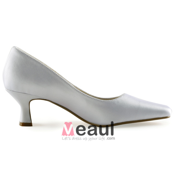 Classic White Pumps Low Heel Satin Bridal Wedding Shoes [411508021 ...