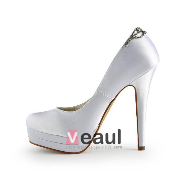 Classic White Pumps Stilettos High Heel Platform Bridal Shoes With Rhinestone