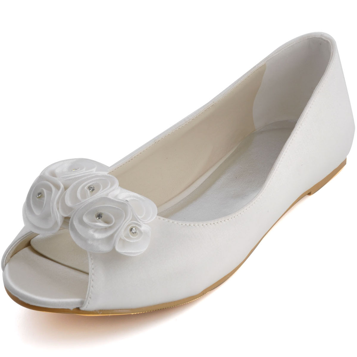 Comfortable And Stylish Handmade Sweet Flowers Fish Head With Flat Shoes Wedding Shoes