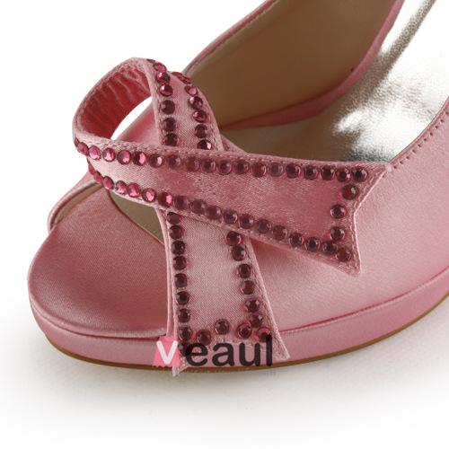 Cute Pink Bridal Shoes Satin Stilettos Peep Toe Pumps With Bowknot