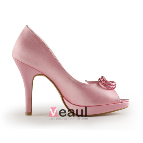 pink bridal shoes satin stilettos peep toe pumps with