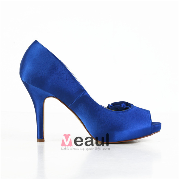 blue prom shoes peep toe satin pumps with flower
