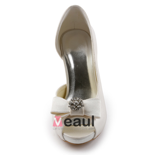 Elegant Champagne Bridal Shoes Peep Toe Sandals With Bow Jewelry