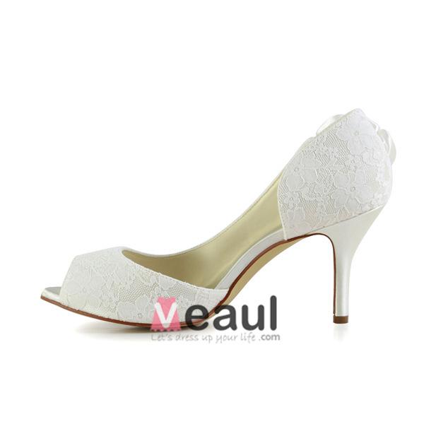 Elegant Ivory Bridal Shoes Peep Toe Stiletto Heels Lace Pumps With Flower