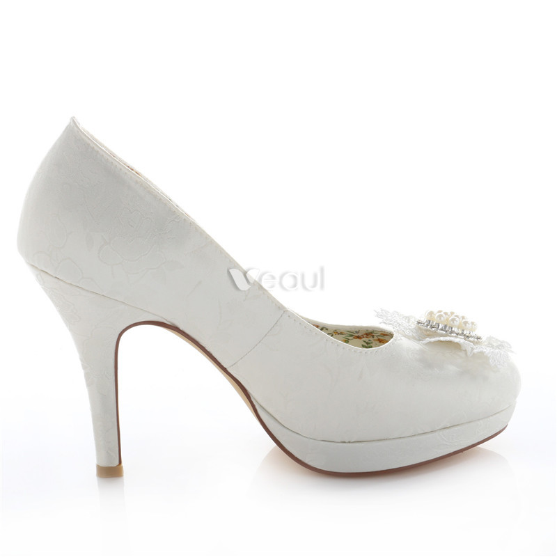 Elegant Ivory Bridal Shoes Stiletto Heels Satin Wedding Pumps 4 Inch High Heel With Pearl