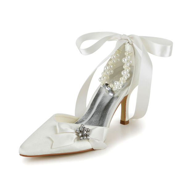 Elegant Ivory Wedding Shoes Stiletto Heels Sandals With Pearl Ankle Strap