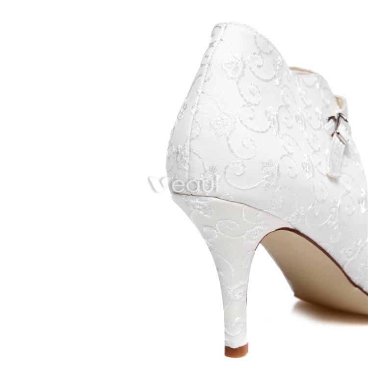 Elegant Lace Bridal Shoes Stiletto Heels White Wedding Shoes Ankle Boots