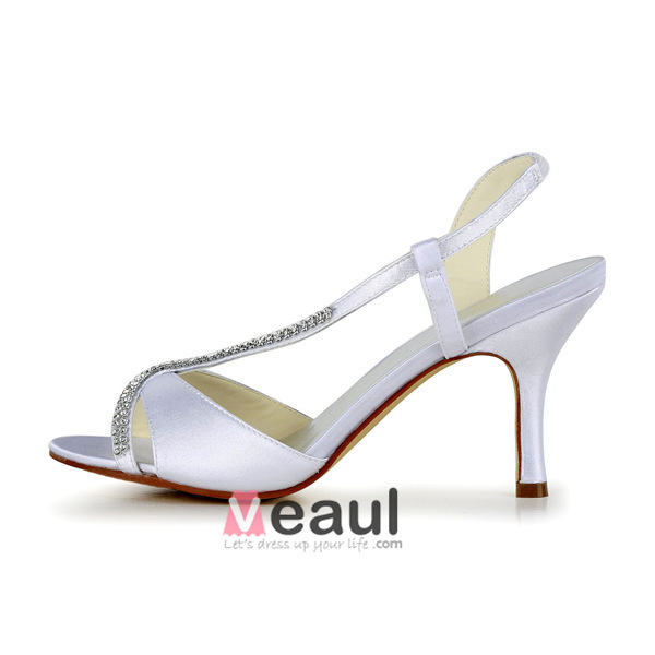 Elegant Peep Toe High Heels White Satin Slingbacks Wedding Shoes With Rhinestone