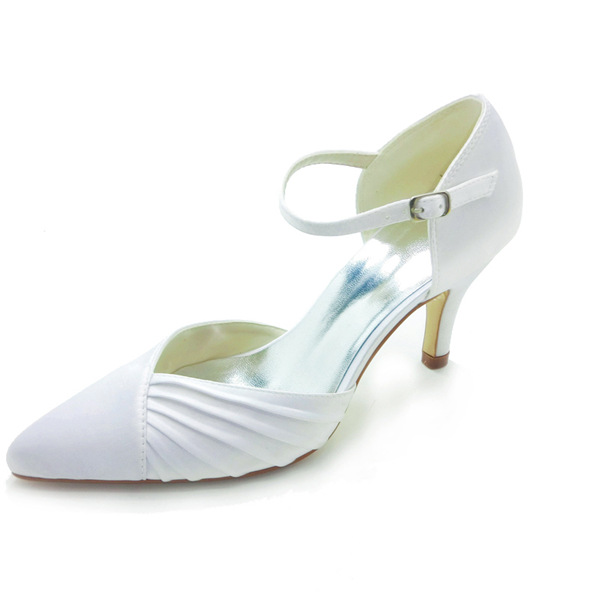 Elegant Pointed Toe Mid Heels White Satin Sandals Wedding Shoes With Buckle