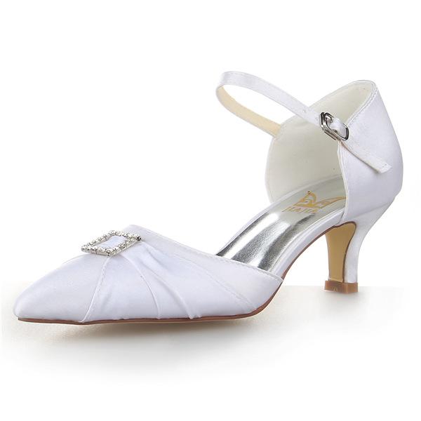 Elegant Pointed Toe Rhinestone White Ruffle Satin Low Heels Wedding Shoes