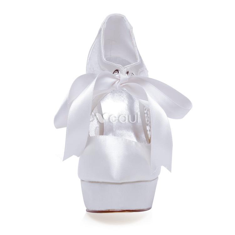 Elegant Satin Wedding Pumps With Lace Stiletto Heels Bridal Shoes High Heels With Platform