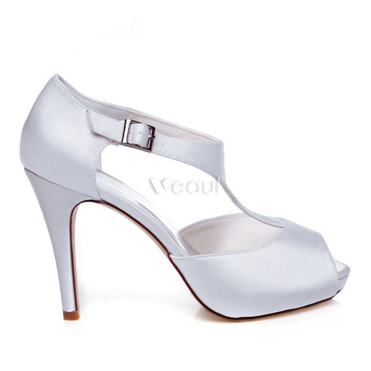 Elegant Satin Wedding Shoes White Pumps 4 Inch High Heel Bridal ...