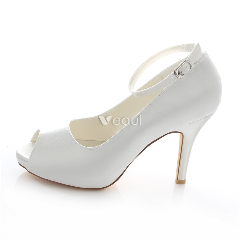 Elegant Satin Wedding Shoes White Stiletto Heels Pumps 4 Inch High ...