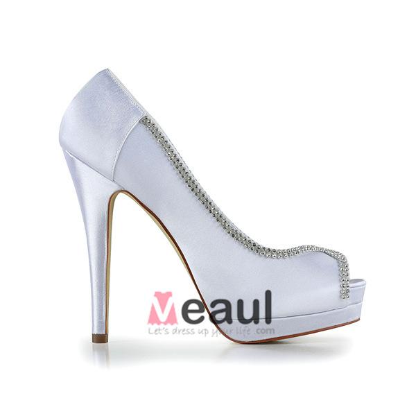 Elegant White Bridal Shoes Peep Toe High Heel Platform Pumps With Rhinestone