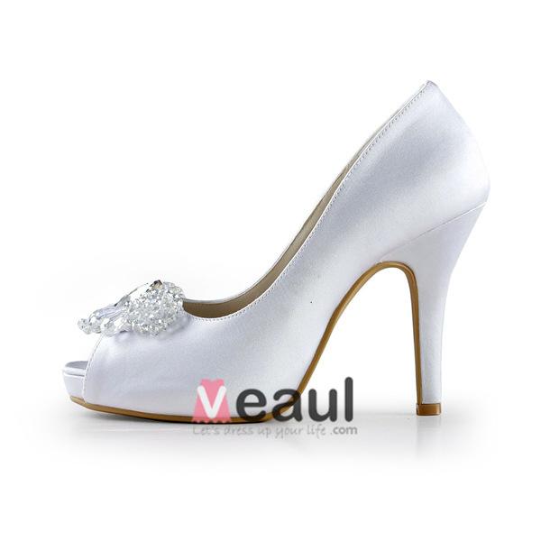 Elegant White Bridal Shoes Satin Peep Toe Stilettos Pumps With Crystal