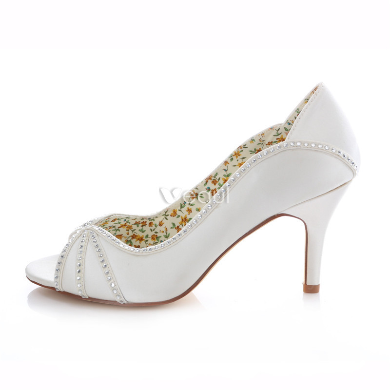 Elegant White Satin Bridal Shoes 3 Inch High Heels Stiletto Pumps