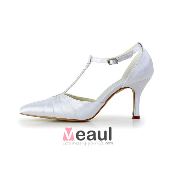 Elegant White T-strap Wedding Shoes Satin Stilettos Sandals With Rhinestone Ankle Strap